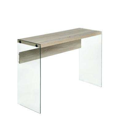 Escher Skye Console Sofa Table, Clear Glass, Light Oak