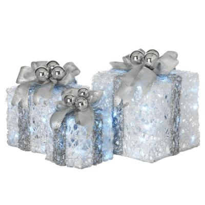 8 in., 10 in. and 12 in. Glittered White Gift Boxes with 70 Cool White Twinkle LED Lights (Set of 3)