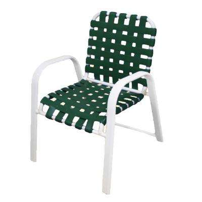 Marco Island White Commercial Grade Aluminum Patio Dining Chair With Green Vinyl Cross Straps 2