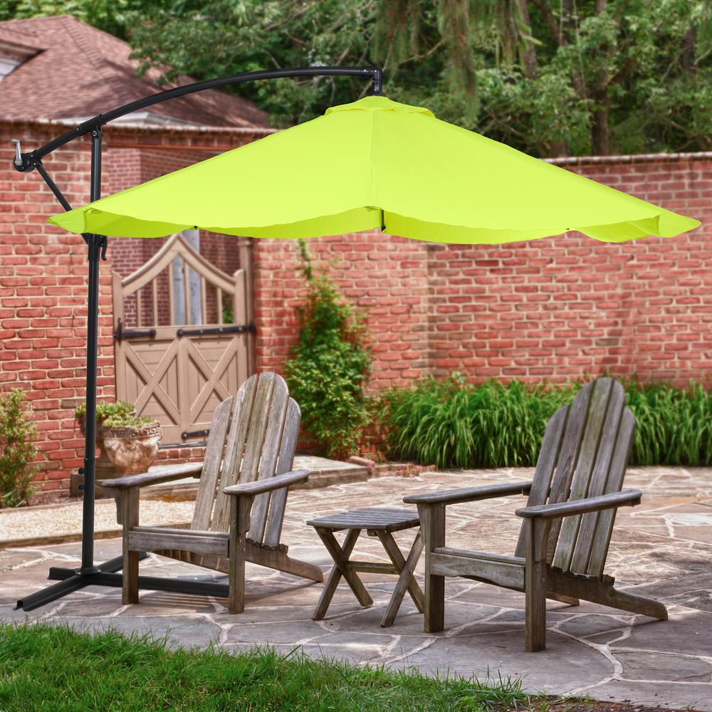 Super Pure Garden 10 Ft Offset Aluminum Hanging Patio Umbrella In Lime Green Download Free Architecture Designs Ferenbritishbridgeorg