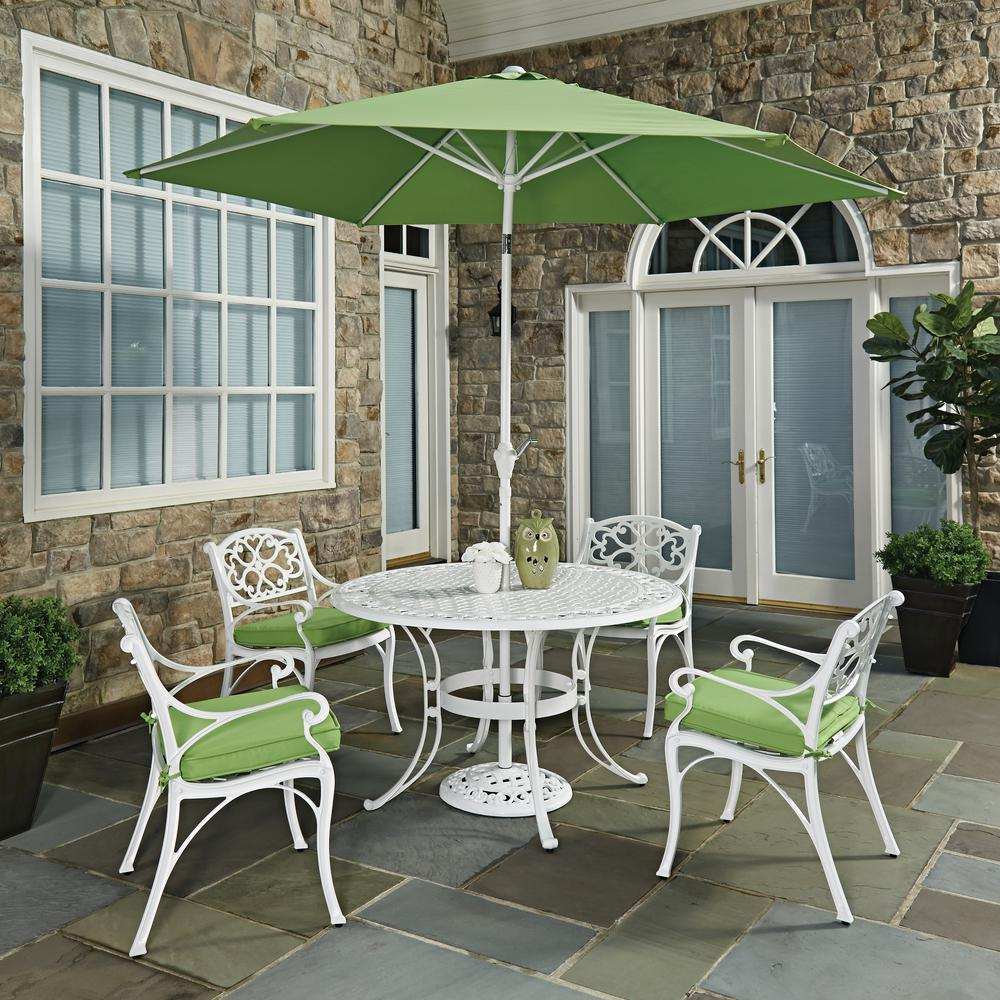 Home Styles Biscayne White 7 Piece Outdoor Dining Set With Green Cushions