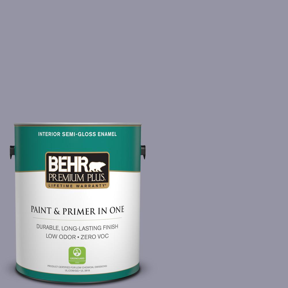 1-gal. #640F-5 Ash Violet Zero VOC Semi-Gloss Enamel Interior Paint