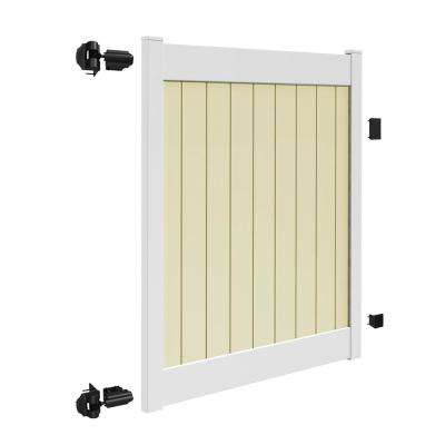 Roosevelt 5 ft. W x 6 ft. H 2-Toned (White Rails and Sand Infill) Vinyl Un-Assembled Fence Gate