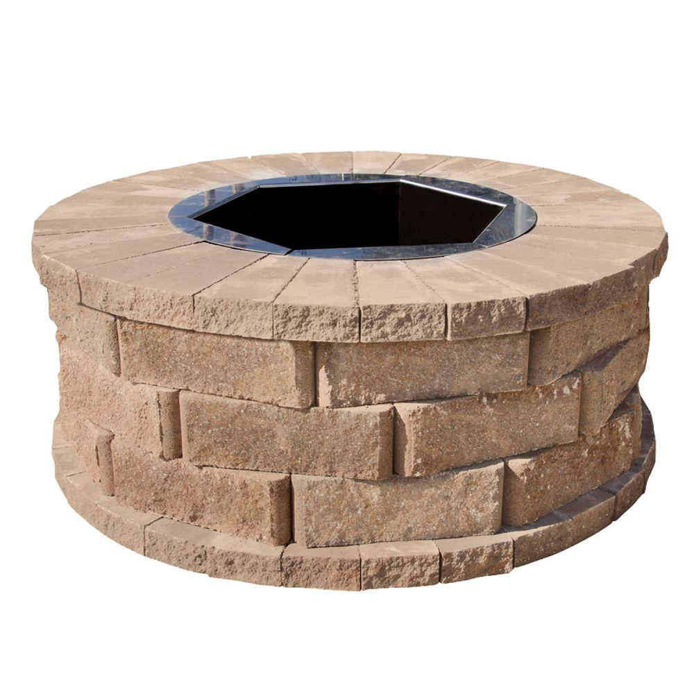 Pavestone 40 in. W x 16 in. H Rockwall Round Fire Pit Kit - Pecan