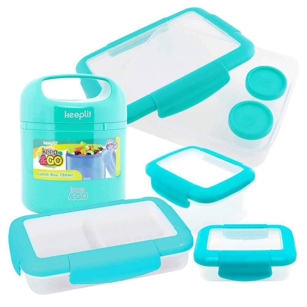 5-Piece Food Storage Container Assorted Pack in Aqua