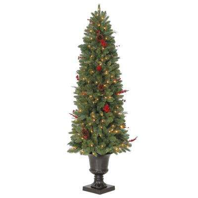 6 ft pre lit winslow fir potted artificial christmas tree with 612 tips and - Martha Stewart 75 Foot Christmas Trees