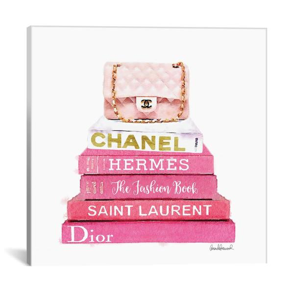 Icanvas Quot Pink Fashion Books With A Pink Bag Quot By Amanda