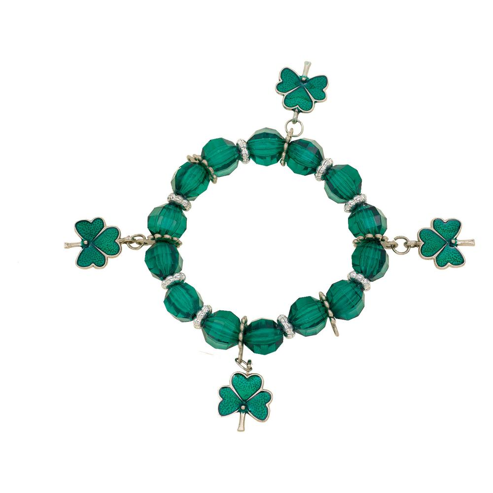 Green Plastic and Metal St. Patrick's Day Stretch Charm Bracelet (11-Pack)