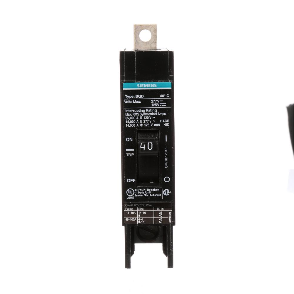 Siemens 40 Amp Single-Pole Type BQD Bolt-On Circuit Breaker