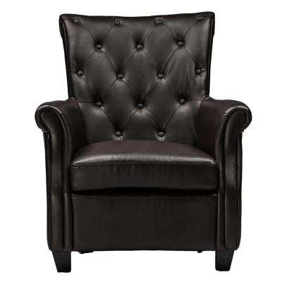 Brixton Contemporary Dark Brown Faux Leather Upholstered Accent Chair