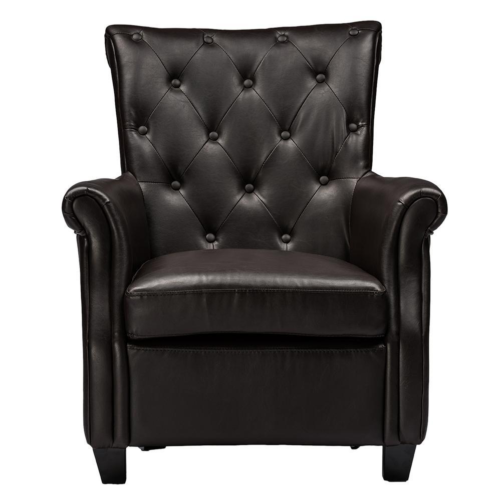 Amazing Baxton Studio Brixton Contemporary Dark Brown Faux Leather Machost Co Dining Chair Design Ideas Machostcouk