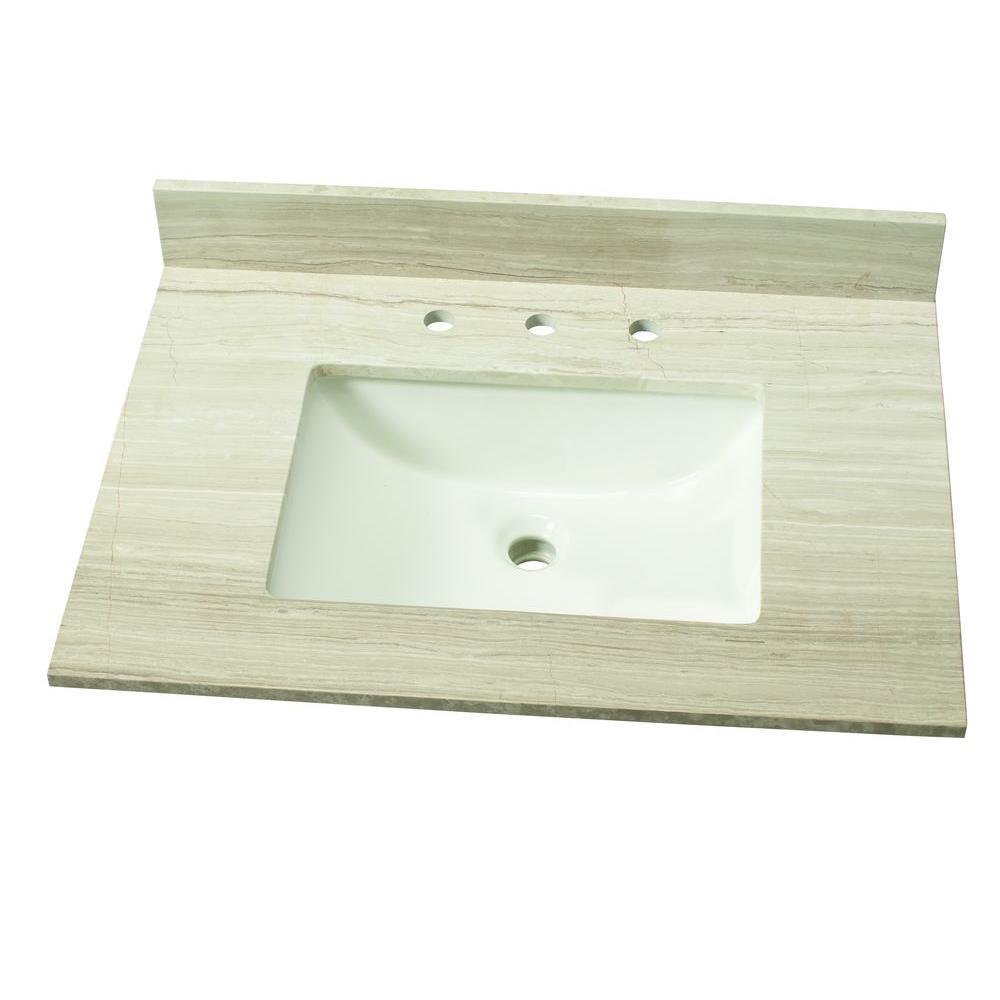 31 in. W Marble Single Vanity Top in White Oak with