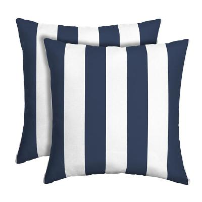16 in. x 16 in. Sapphire Cabana Stripe Outdoor Square Pillow (2-Pack)