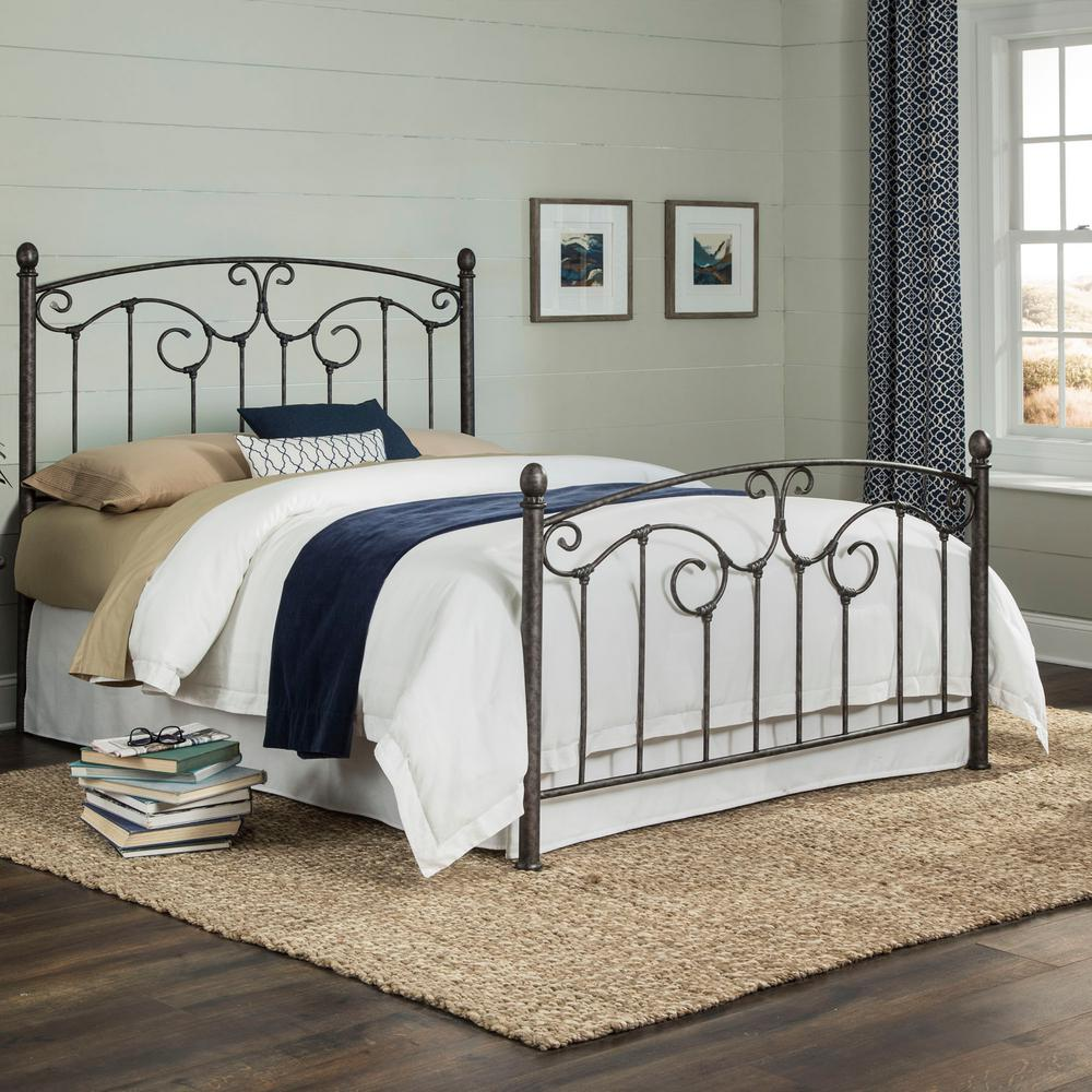 Hinsdale Antiqued Pewter Queen Complete Metal Bed with Sloping Top Rails