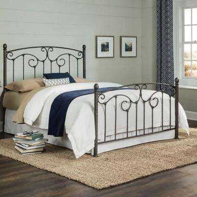Hinsdale Antiqued Pewter Queen Complete Metal Bed with Sloping Top Rails and Vertical Spindles