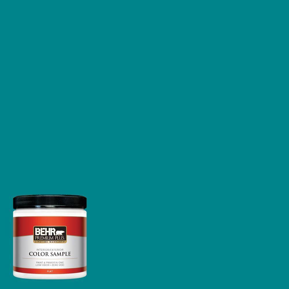 BEHR Premium Plus 8 oz. #500B-7 Tucson Teal Interior/Exterior Paint Sample
