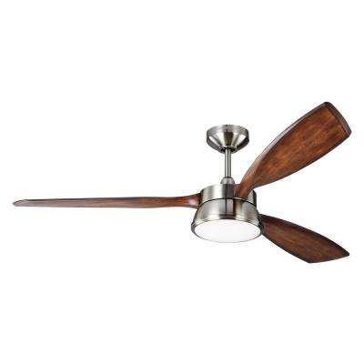 Destin 57 in. Integrated LED Brushed Steel Ceiling Fan
