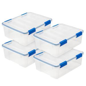 Deals on 4-Pack IRIS WEATHERTIGHT 26.5 Qt. Multi-Purpose Storage Box in Clear
