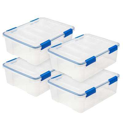 WEATHERTIGHT 26.5 Qt. Multi-Purpose Storage Box in Clear with Blue Buckle (4-Pack)