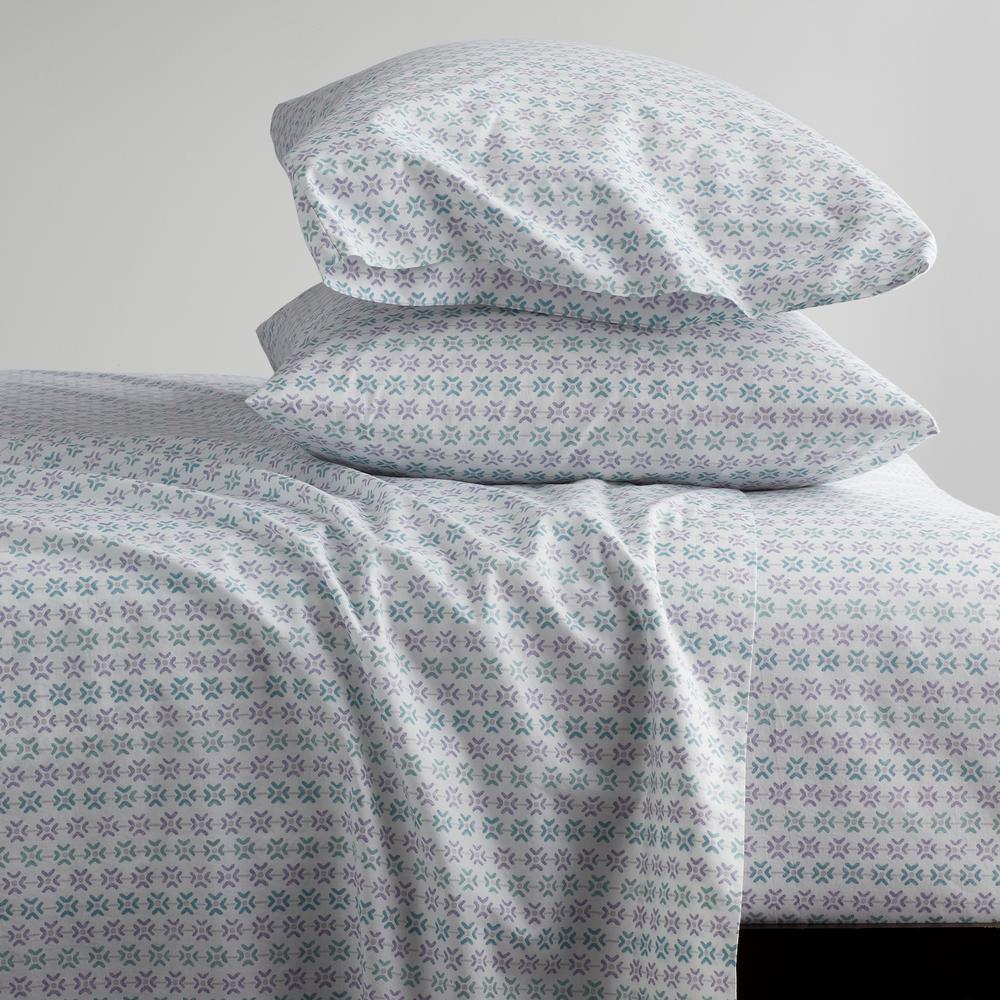 Dana Geo Garment Wash 4-Piece 200-Thread Count Organic Cotton Percale King Sheet Set