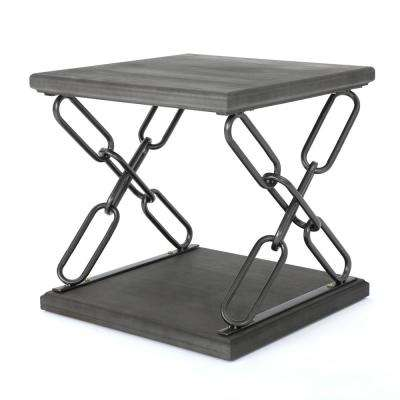 Tiomoid Industrial Gray Faux Wood Side Table with Black Chain-Style Metal Frame