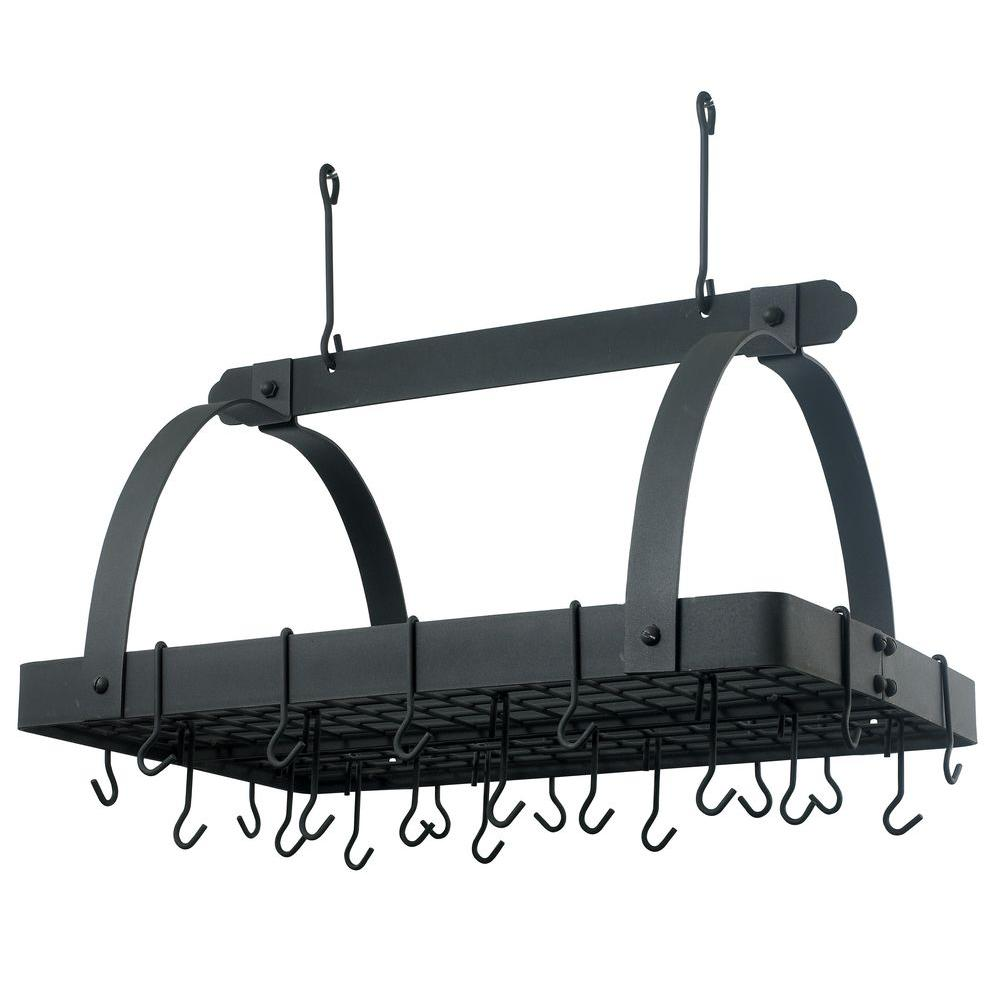 Old Dutch 30 in. x 20.5 in. x 15.75 in. Graphite Pot Rack with Grid and 24 Hooks