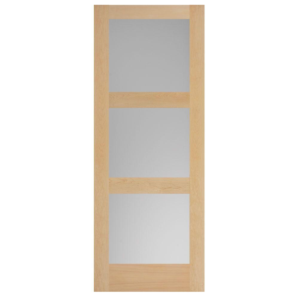 Masonite 40 in. x 84 in. Maple Veneer 3-Lite Equal Solid Wood ...