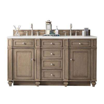 Bristol 60 in. W Double Vanity in Whitewashed Walnut with Solid Surface Vanity Top in Arctic Fall with White Basin