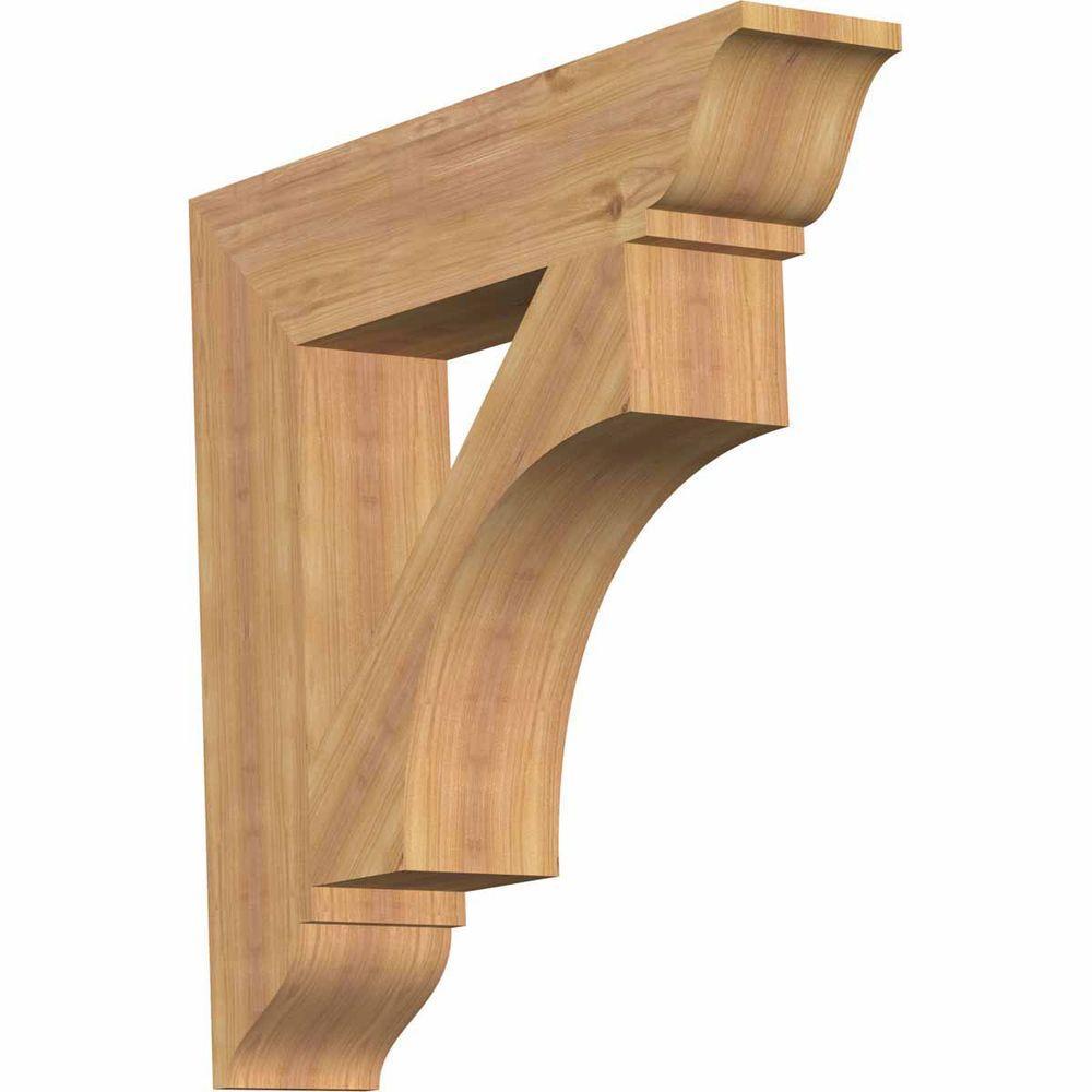 3.5 Width x 24 Depth x 36 Height Ekena Millwork BKT04X24X36FST01SDF Funston Traditional Smooth Bracket Douglas Fir