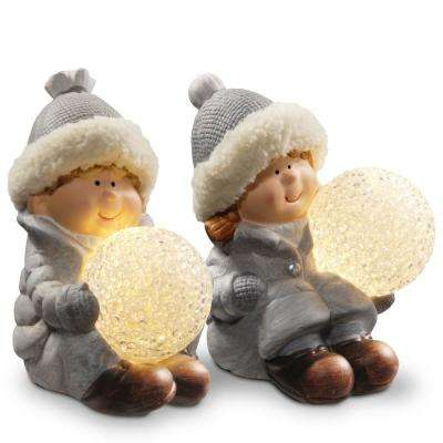 5.5 in. Lighted Boy and Girl Decor Piece
