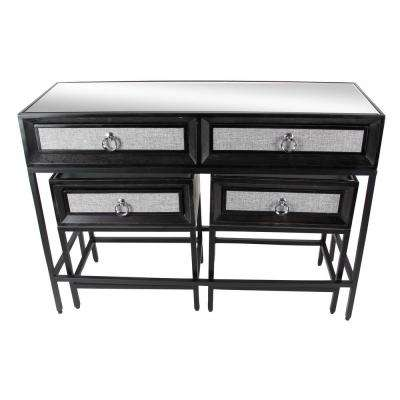 Classic Black Wood And Metal Console Table And End Tables Set (Set Of 3)