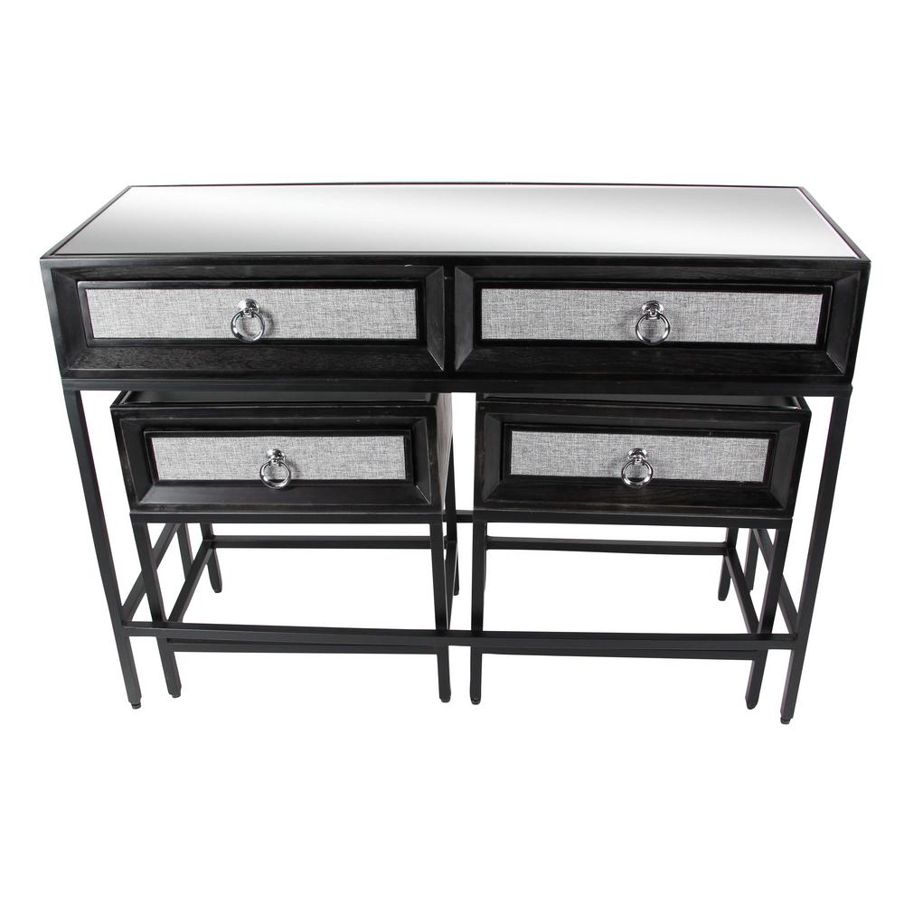 AMERICAN HOME FURN Classic Black Wood and Metal Console Table and End Tables Set (Set of 3)