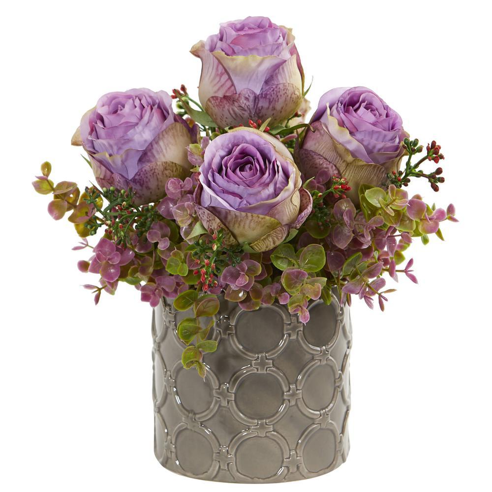 Indoor 11 in. Roses and Eucalyptus Artificial Arrangement in Designer Vase