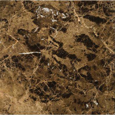 Marble Marrone Emperador Dark Polished 12.01 in. x 12.01 in. Marble Floor and Wall Tile