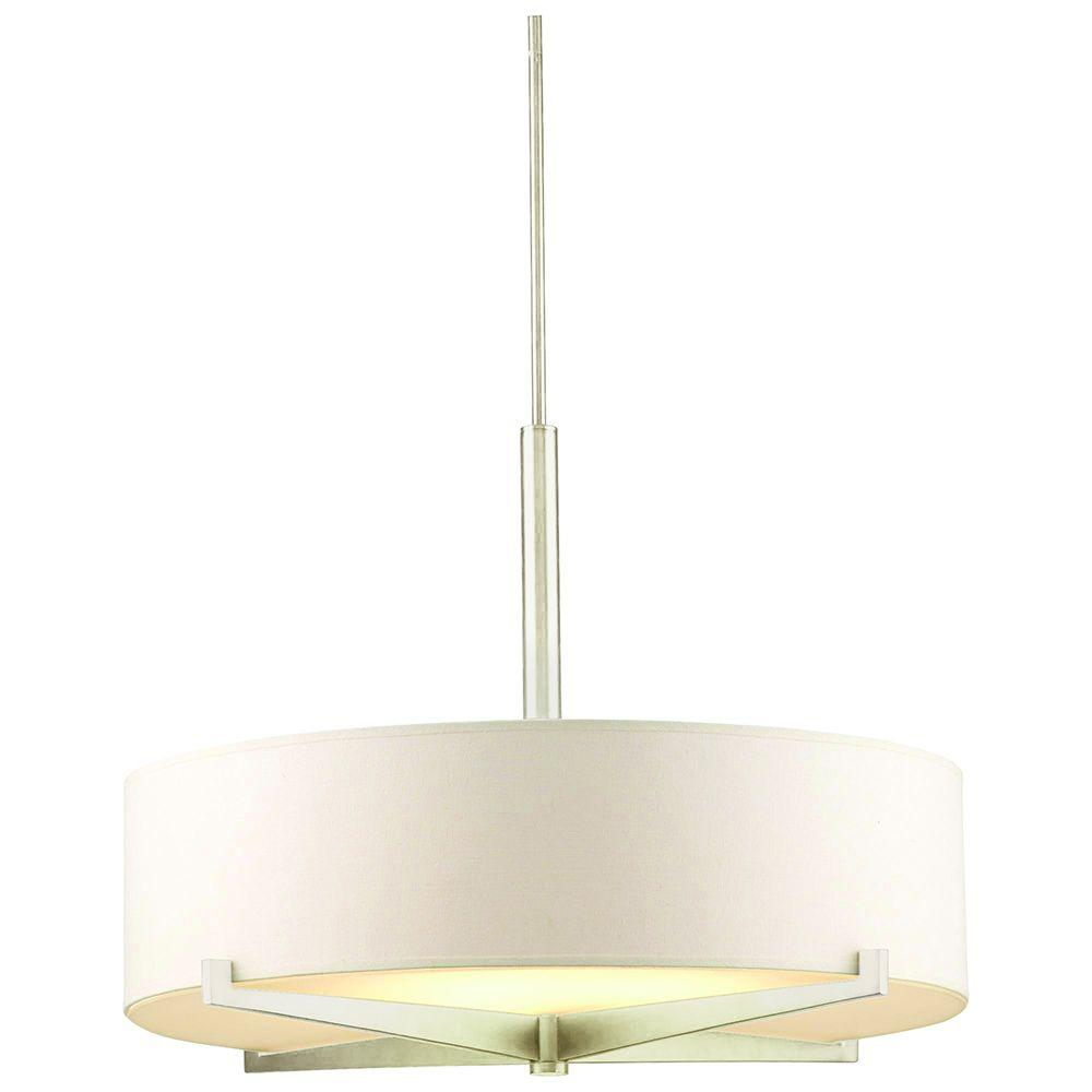 Philips Fisher Island 3 Light Satin Nickel Ivory Shade Hanging Pendant Amazing Design