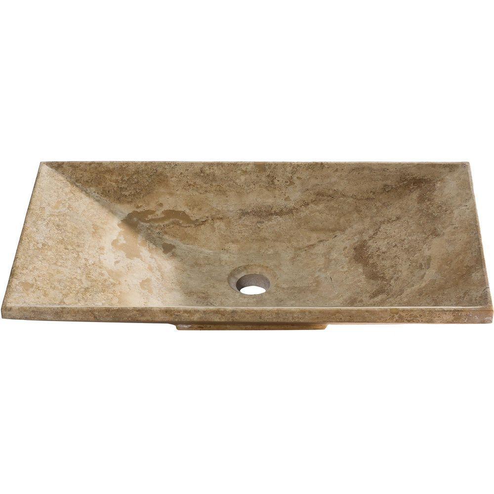 Y Decor Vicki Vessel Sink in Beige, Honed Stone