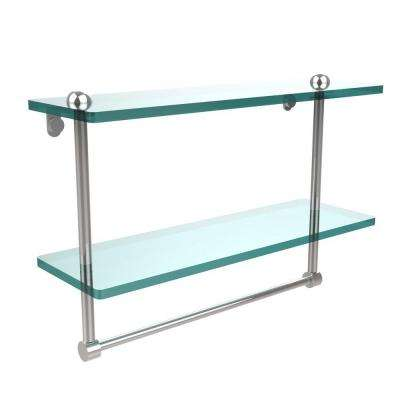 16 in. L  x 12 in. H  x 5 in. W 2-Tier Clear Glass Bathroom Shelf with Towel Bar in Polished Chrome