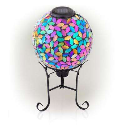 17 in. Tall Solar Purple Mosaic Gazing Globe with Metal Stand