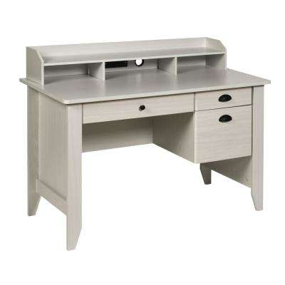 Executive Desk with Hutch, USB and Charger Hub, Wood Grain White Oak