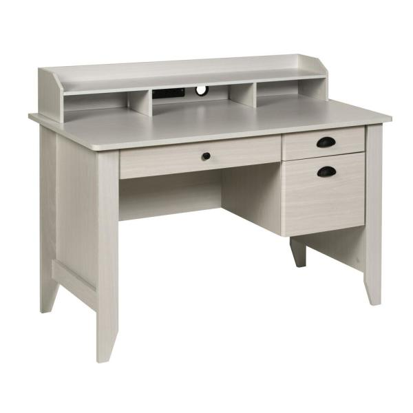 OneSpace Executive Desk with Hutch, USB and Charger Hub, Wood Grain