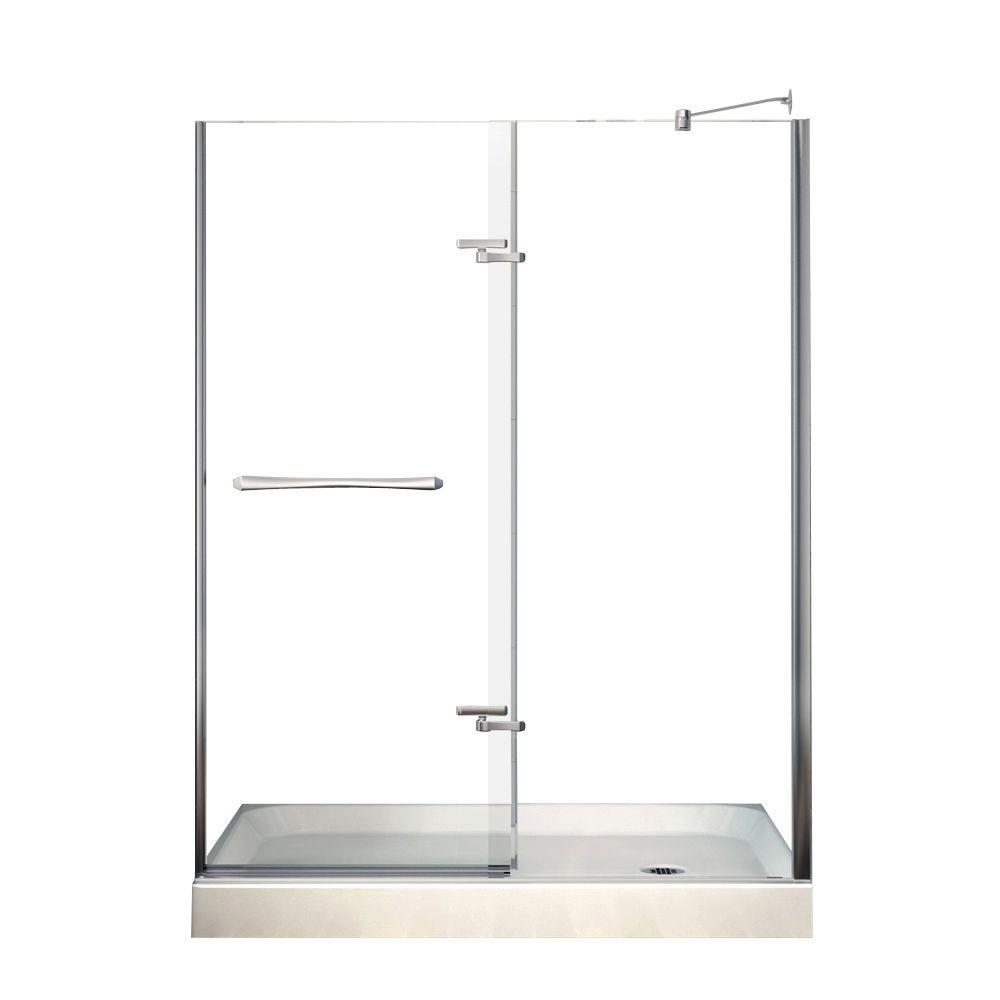 Reveal 60 in. x 76.5 in. Frameless Pivot Shower Door in