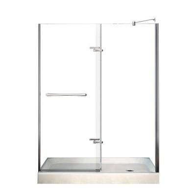 Reveal 60 in. x 76.5 in. Frameless Pivot Shower Door in Chrome with 60 in. x 32 in. Right Drain Base in White