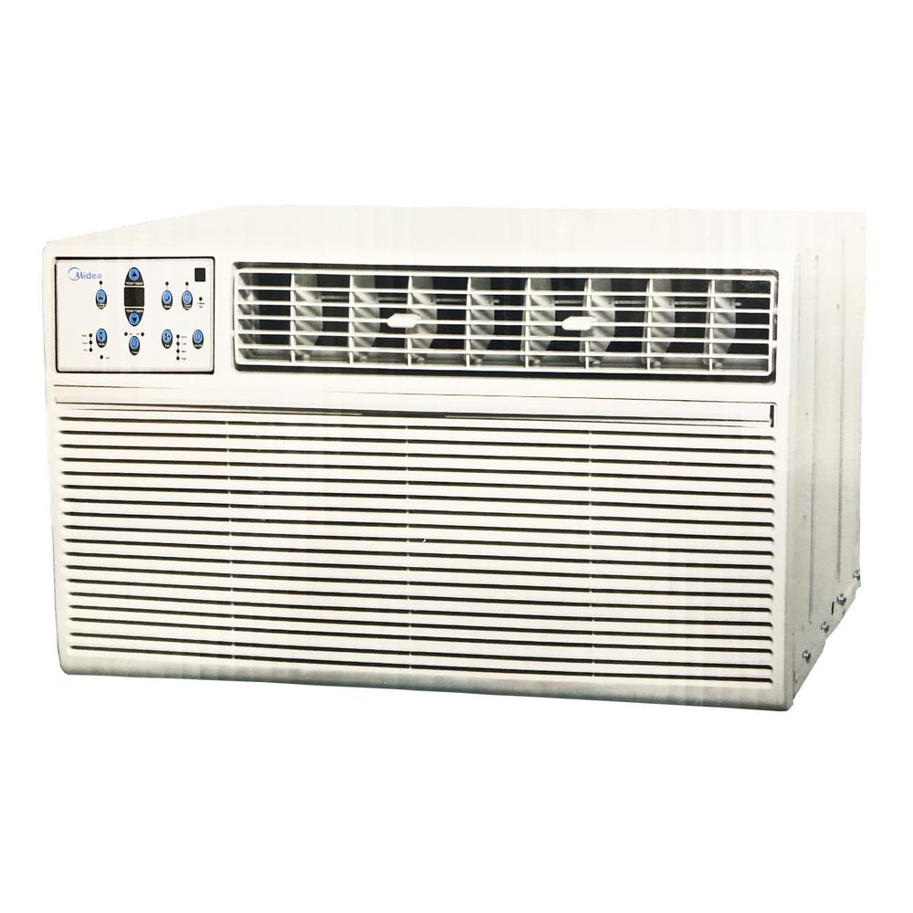 Midea 8,000 BTU 115-Volt Slide-Out Window Air Conditioner Heat and Cool in White The Midea 8,000 BTU Arctic King Cool and Heat Window Air Conditioner Keeps you comfortable and healthy. This model cools up to 350 sq. ft. and it is easy to control. You can adjust the fan speed to your needs.