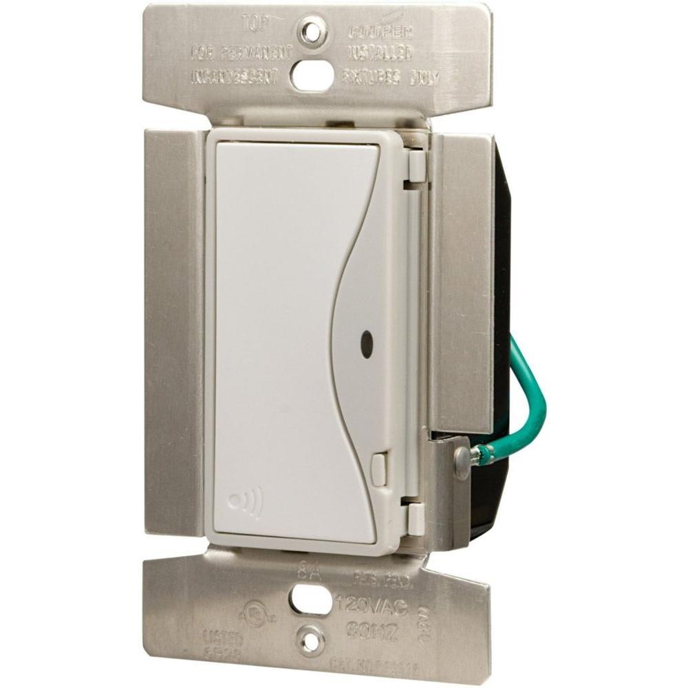 Aspire 8 Amp RF Single-Pole Rocker Wireless Light Switch, White Satin
