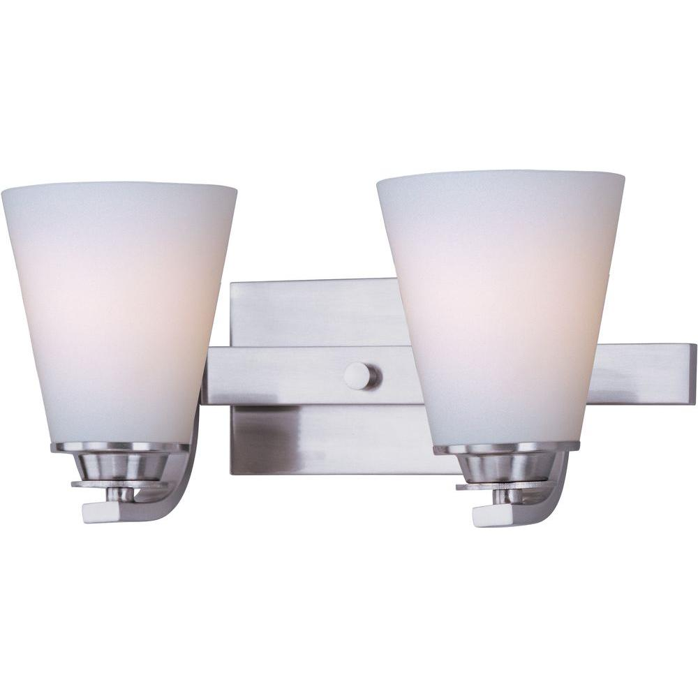 Conical 2-Light Satin Nickel Bath Vanity Light