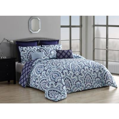 Palma 8-Piece Queen Blue Comforter with Euro Shams