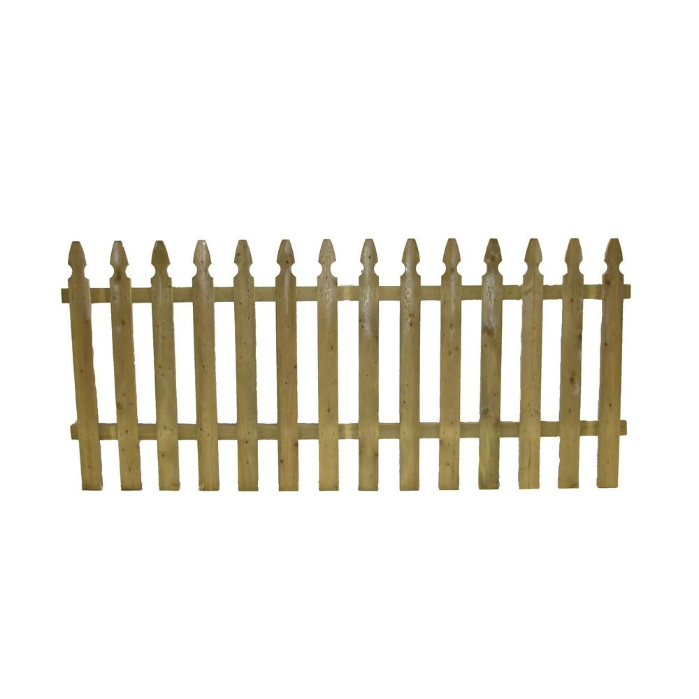 3.5 ft. x 8 ft. Pressure Treated French Gothic Space Picket Fence Panel