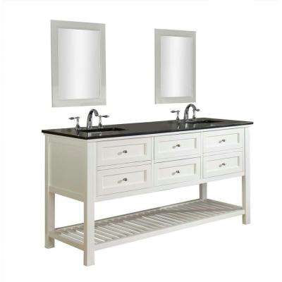 Mission Spa 70 in. Double Vanity in Pearl White with Granite Vanity Top in Black and Mirrors
