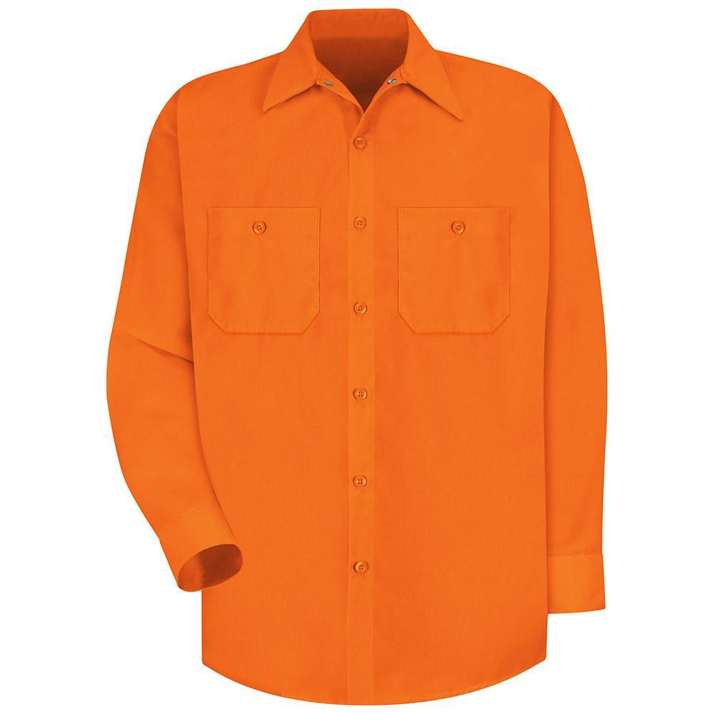 Men's Size L Fluorescent Orange Enhanced Visibility Work Shirt