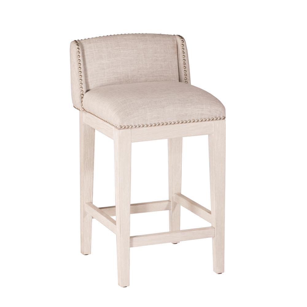 Hillsdale furniture bronn 30 in white non swivel bar stool set of 2